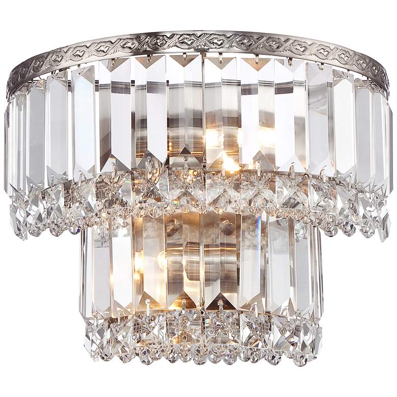 """Magnificence Satin Nickel 10"""" Wide Crystal Wall Sconce"""