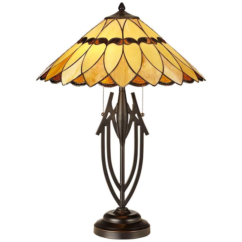 Robert Louis Tiffany Shiloh Scallop Art Glass Tiffany-Style Table Lamp