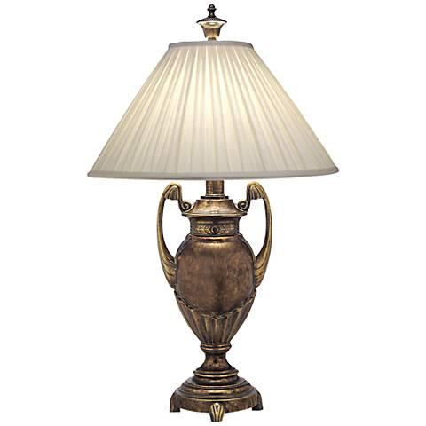 Stiffel Box Pleat Amber Tortoise Shell Urn Table Lamp