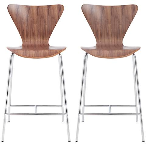 Tendy Walnut Laminated Wood Counter Chair Set of 2