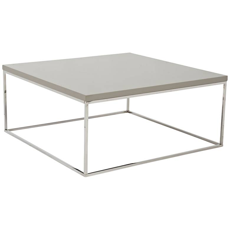 "Teresa 35 1/2"" Square Taupe Lacquer Modern Coffee Table"