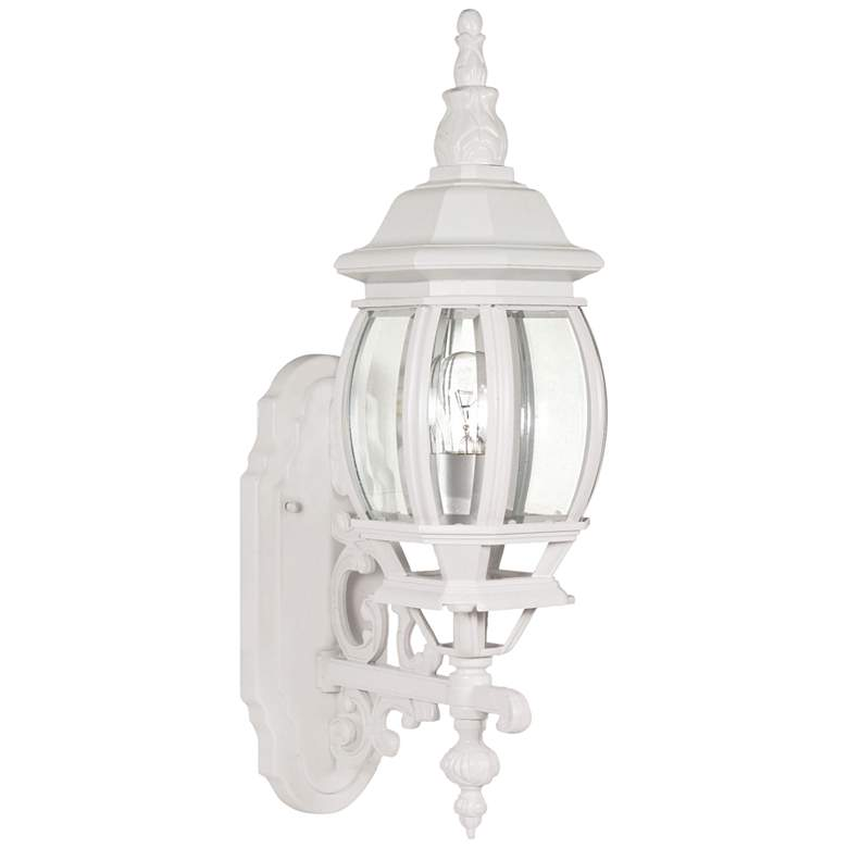 "Central Park 20"" High White Upbridge Arm Outdoor Wall Light"