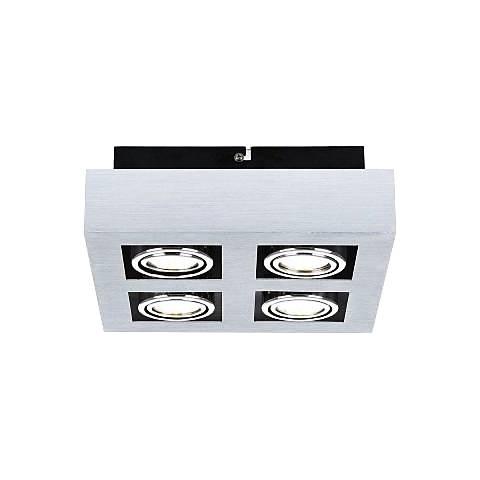 Eglo Loke 4-Light Brushed Aluminum Square Track Fixture