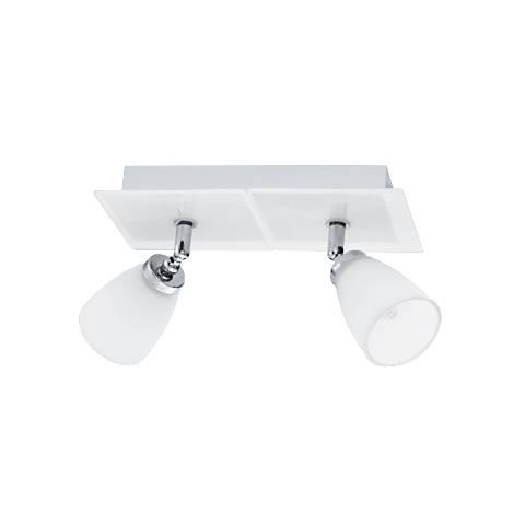 Eglo Katoro White Glass 2-Spot Track Light Fixture