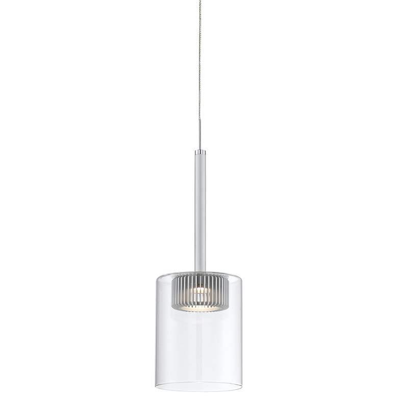 "Possini Euro Mucci 4 3/4""W Clear Glass Cylinder Mini Pendant"