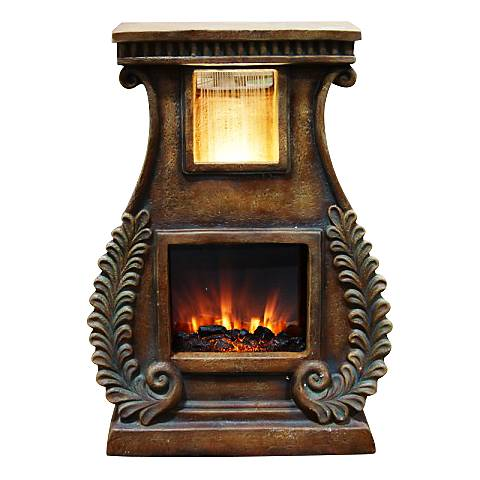 """Rhiannon Fireplace 28"""" High Fountain with Fern Detail"""