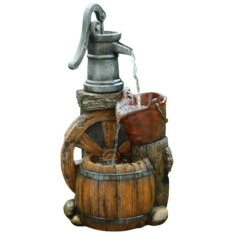 "Kingsdowne 24"" High Old Fashioned Water Pump Barrel Fountain"