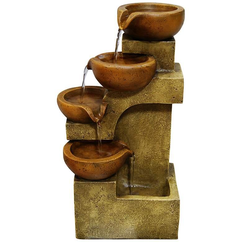 "Josselin 17"" High Tiered Pots Rustic Table Fountain"