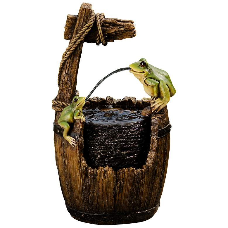 "Maldon Wood 21"" High Frogs on a Barrel"