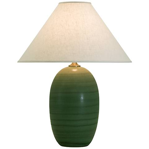 """House of Troy Scatchard Stoneware 28 1/2"""" High Green Lamp"""