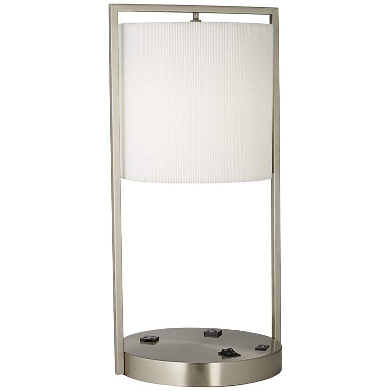 Riva Brushed Nickel Round Table Lamp with USB Port and Convenience Outlet