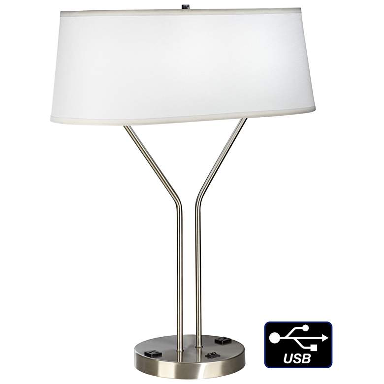 Idell Brushed Nickel USB Port Table Lamp with Power Outlet