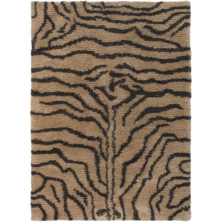 "Chandra Amazon AMA5601 5'x7'6"" Black and Tan Tiger Area Rug"