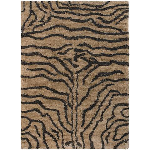 Chandra Amazon AMA5601 Black and Tan Tiger Area Rug