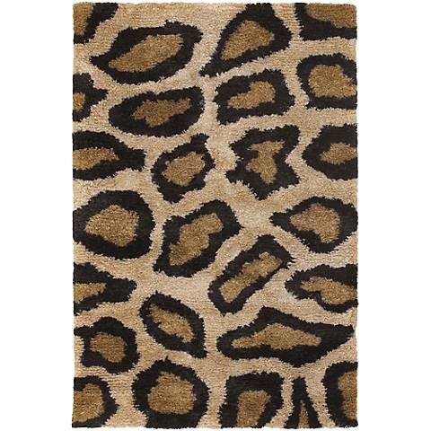 Chandra Amazon AMA5602 Black and Tan Cheetah Area Rug