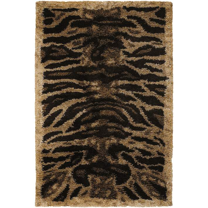 Black Tan And Gold Tiger Area Rug
