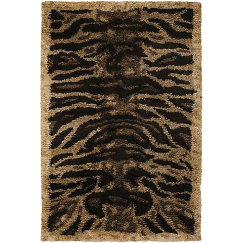Chandra Amazon AMA5603 Black, Tan and Gold Tiger Area Rug