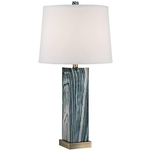 Parrish Blue Faux Marble Column Table Lamp