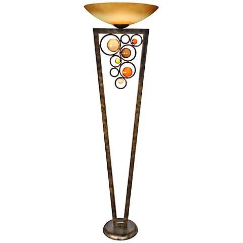 Van Teal Wheels of Steel Golden Ochre Torchiere Floor Lamp