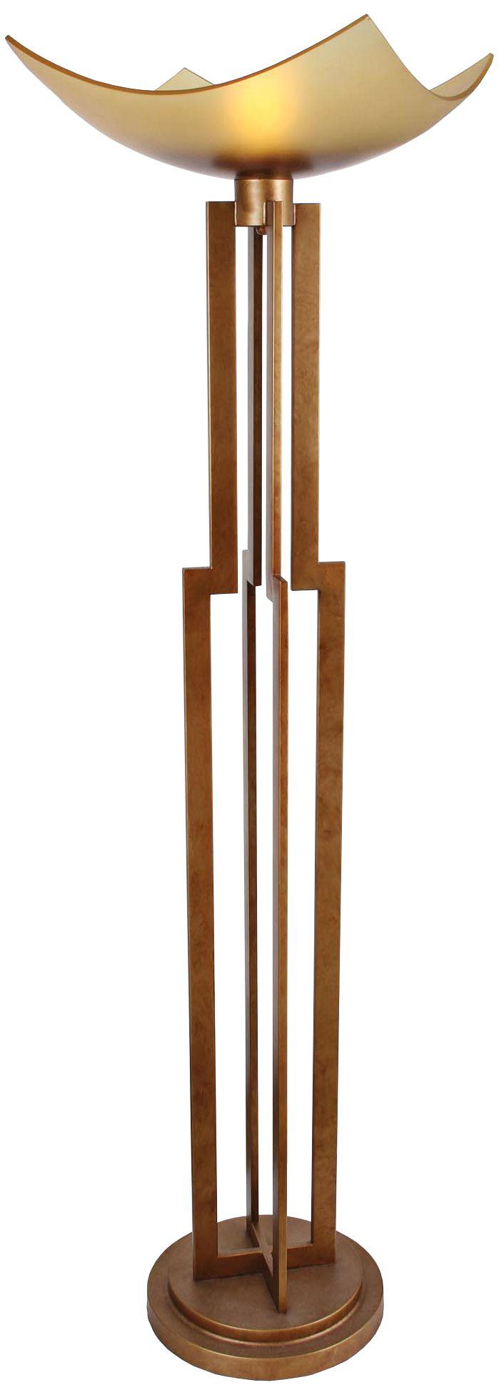 Van Teal On Duty Sienna Gold Torchiere Floor Lamp