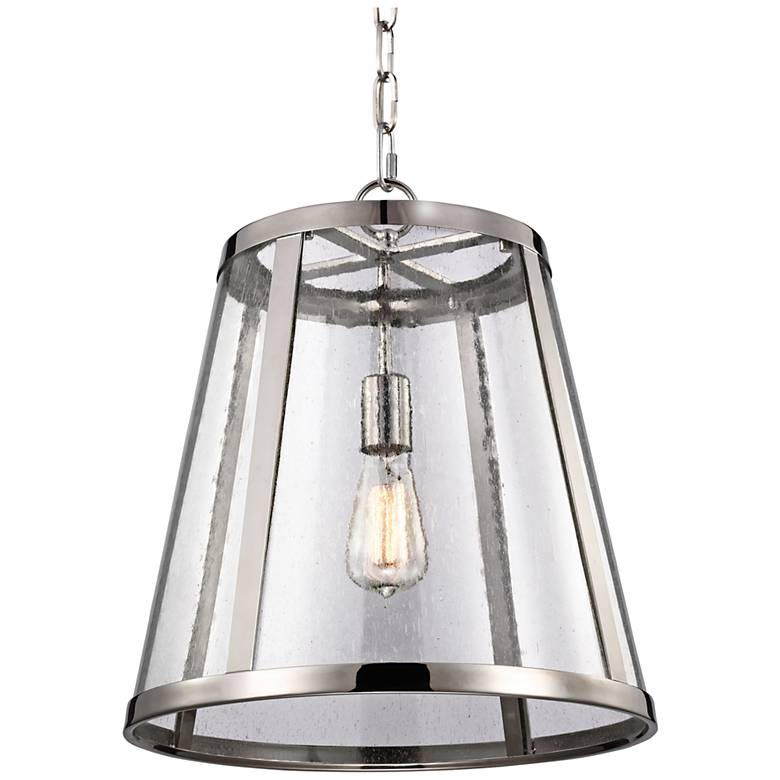 "Feiss Harrow 16""W Polished Nickel 1-Light Mini Pendant"