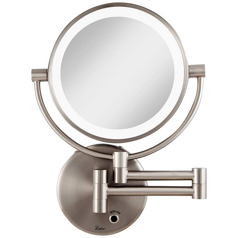 Satin Nickel Cordless LED Lighted Vanity Wall Mirror