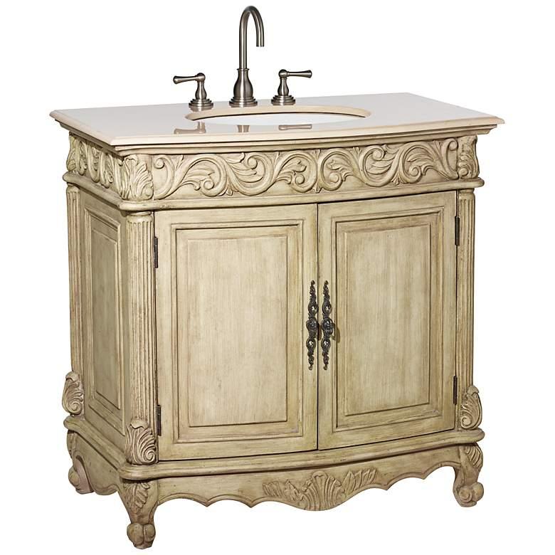 """Amanda Antique Cream 36"""" Wide Single Sink Bath Vanity"""
