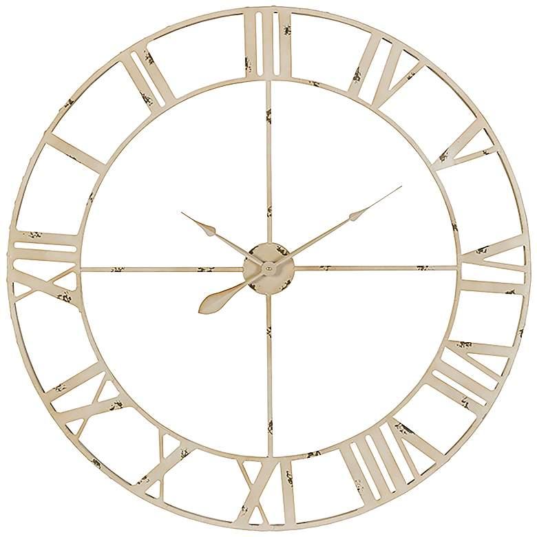 "Cooper Classics Annency Aged Cream 39"" Round Wall Clock"