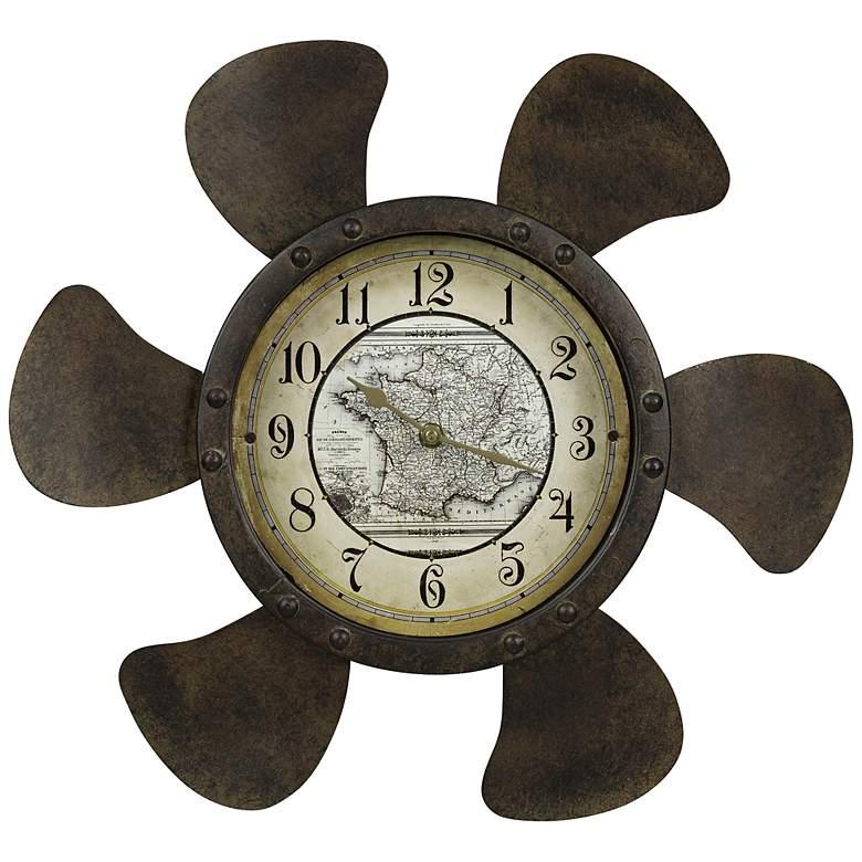 "Cooper Classics Landon Rust 18"" Round Wall Clock"