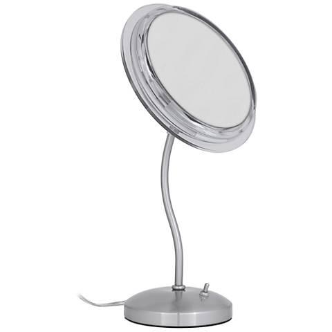Satin Nickel S-Neck Surround Light 6X Magnified Mirror