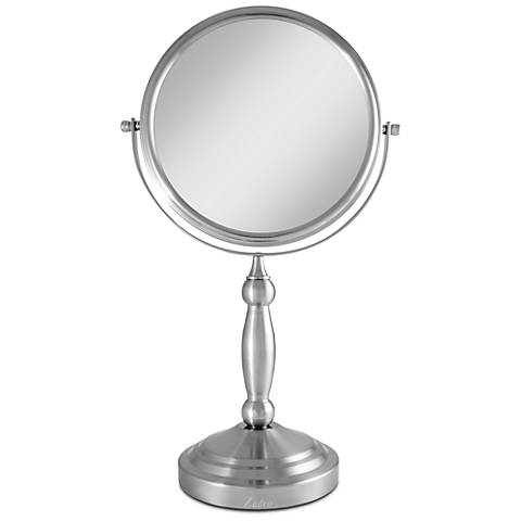 Satin Nickel Dual Sided 10x Magnified Makeup Mirror