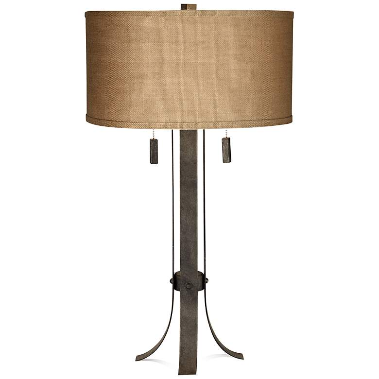 """Pullman 32"""" High Two-Light Wrought Iron Table Lamp"""