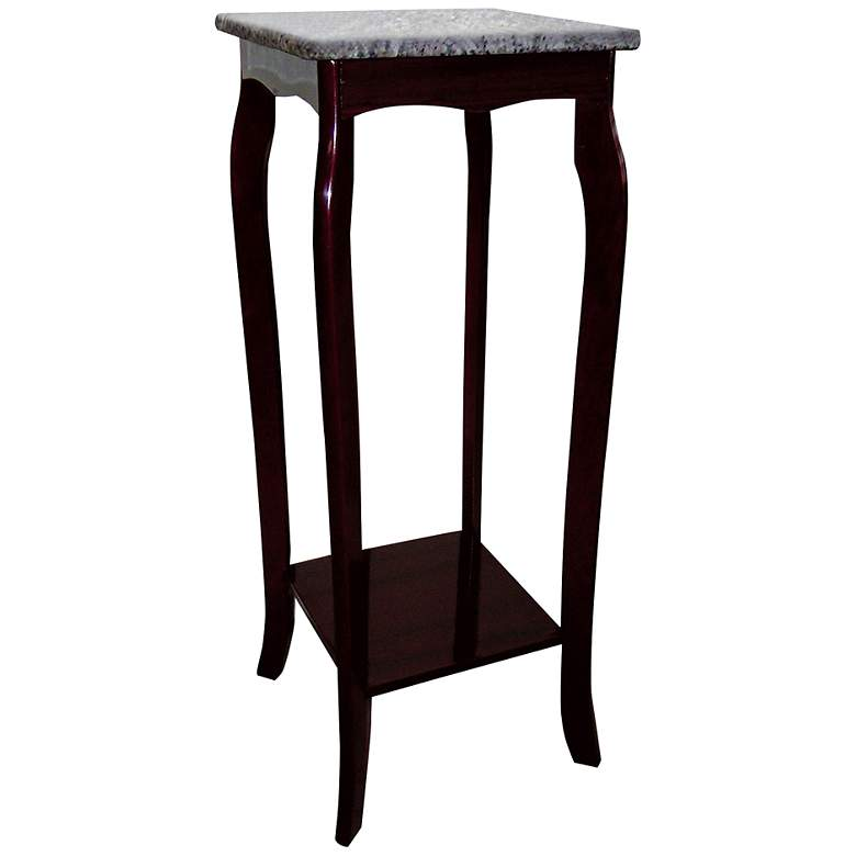 """Alieh 12"""" Wide Marble Top and Wood Traditional Plant Stand"""