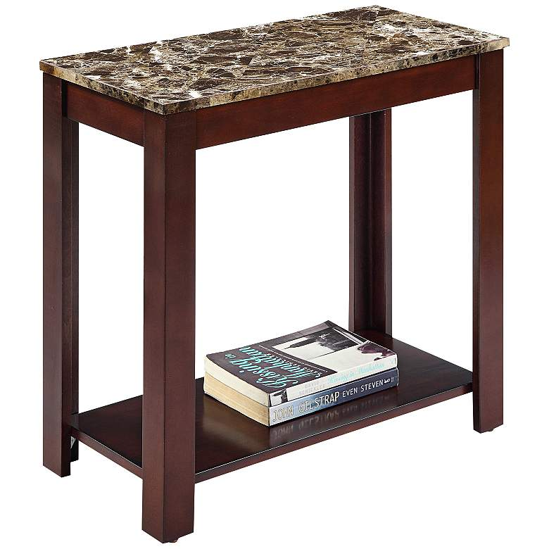 """Pennie 24"""" Wide Marble and Cherry Wood Traditional Table"""