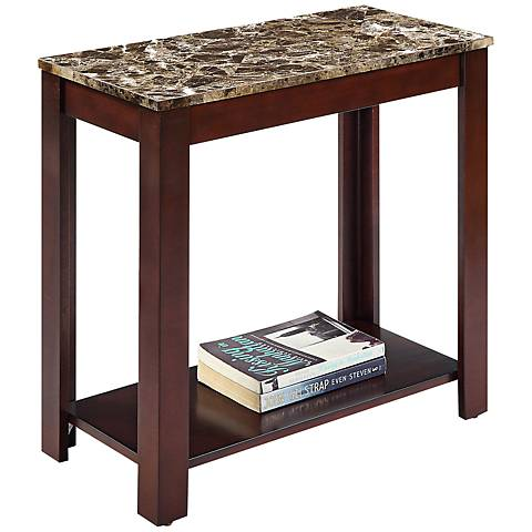 Pennie Marble Top Dark Cherry Traditional Side Table