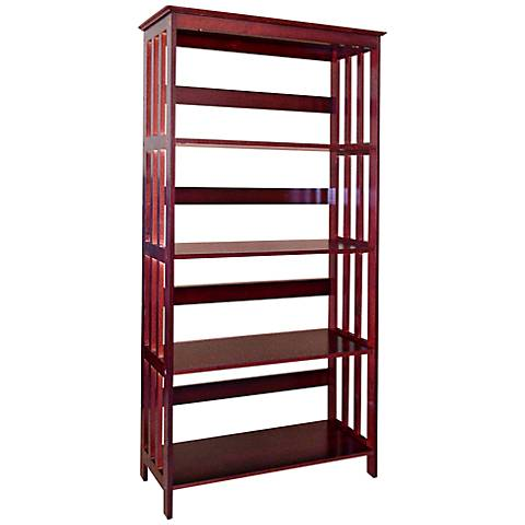 Tolton Mission-Style 4-Tier Cherry Red Bookcase