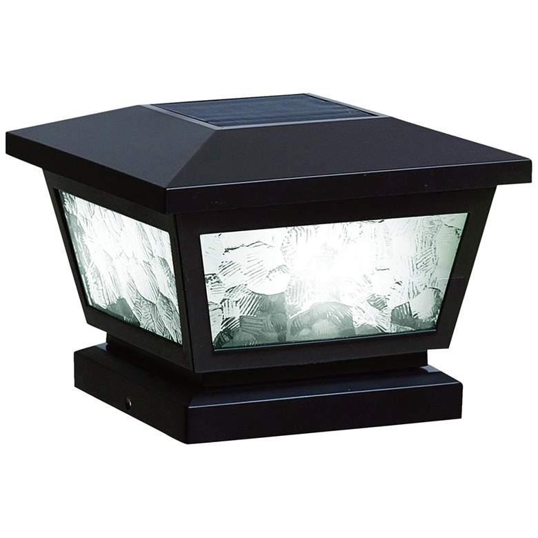 "Fairmont 5""x5"" Black Outdoor LED Solar Post Cap"