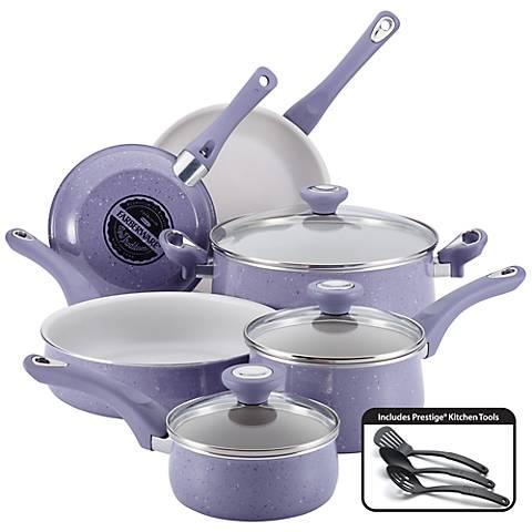 Farberware Lavender White 12-Piece Nonstick Cookware Set