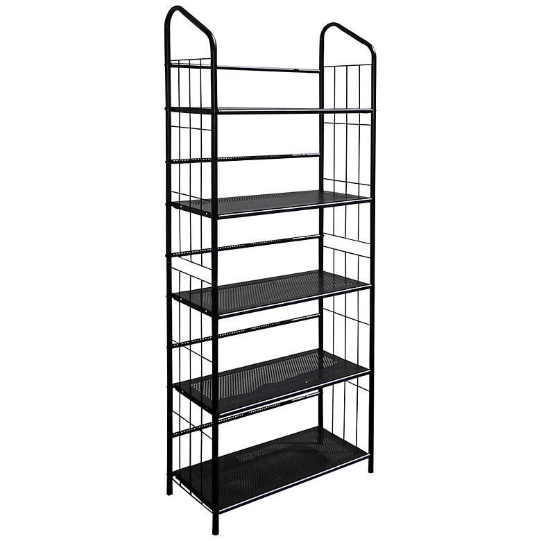 "Meyers 64"" High Black 5-Tier Metal Bookshelf"
