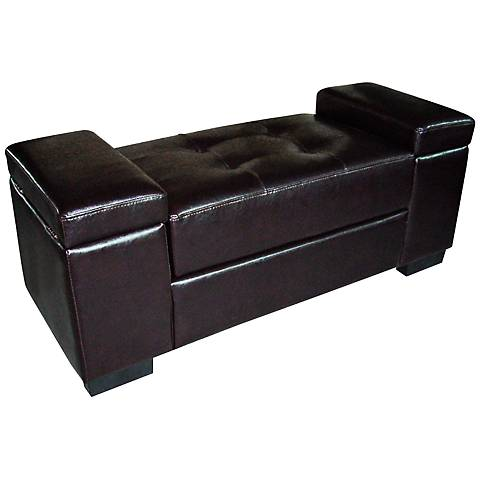 Carter Dark Brown Leather Match Storage Bench