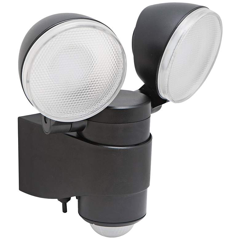 "Motion Activated Black 6"" High 2-Light LED Security"