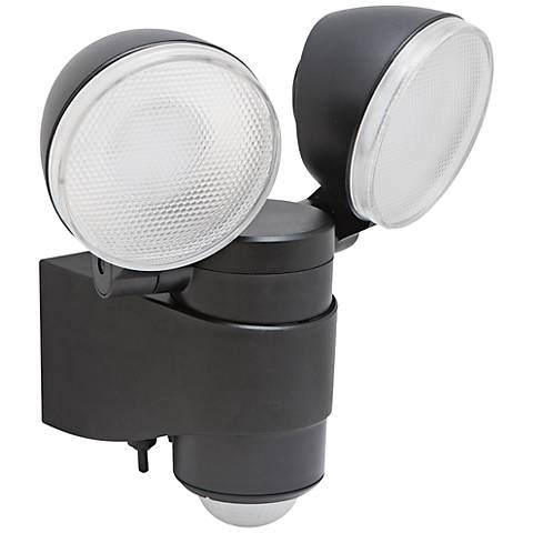 "Motion Activated Black 6"" High 2-Light LED Security Light"