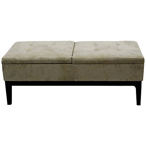 Miley Beige Microfiber Rectangular Storage Bench