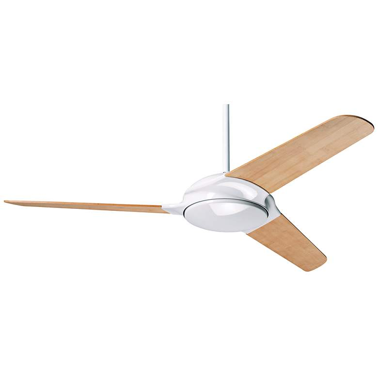"52"" Modern Fan Flow Bamboo - Gloss White Ceiling Fan"