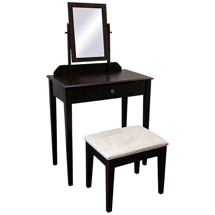 Watkins 28 Wide Espresso Vanity Table, Espresso Vanity Set With Lights