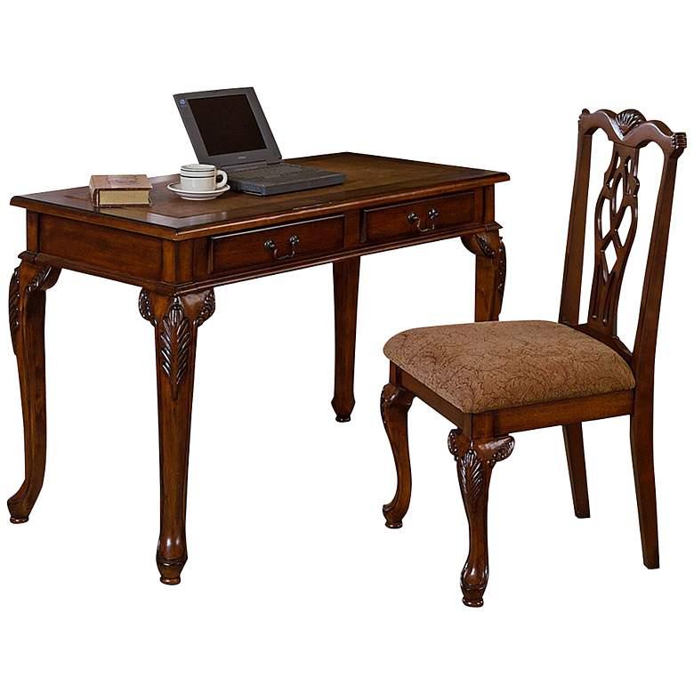 """Fairfax 48"""" Wide Dark Walnut Desk and Chair Set"""