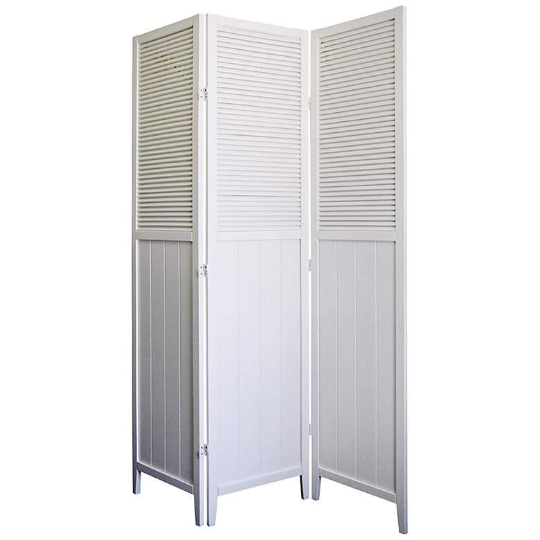 """Bevington 50"""" Wide White Shutter Door 3-Panel Room"""