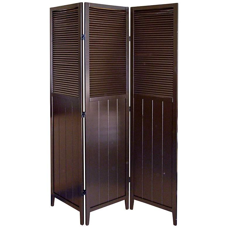 Bevington Espresso Shutter Door 3-Panel Room Divider