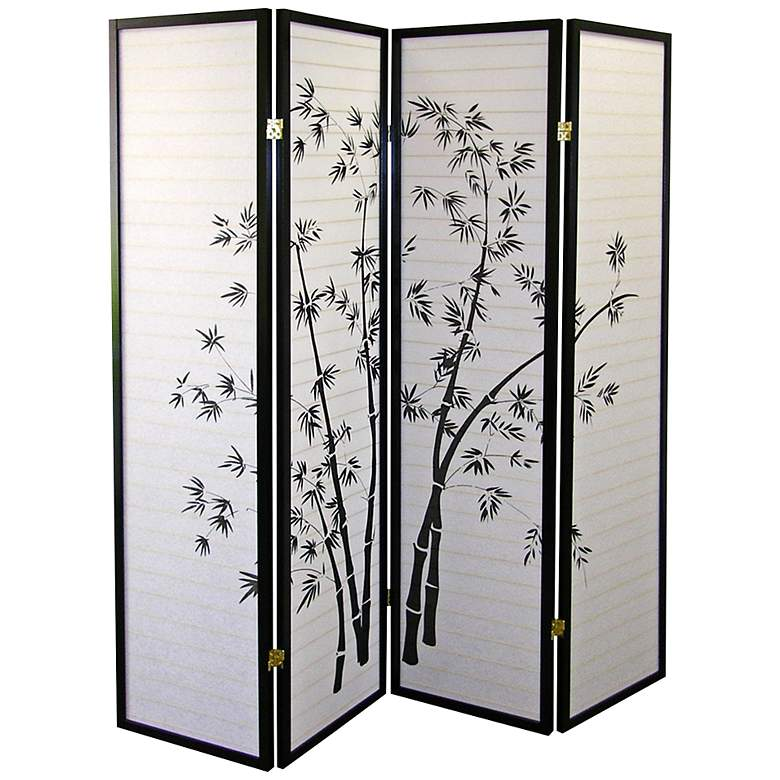 "Bamboo Pattern 60"" Wide Shoji Paper 4-Panel Room Divider"