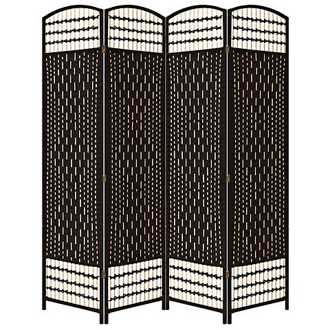 Rosenthal Espresso Paper Straw Weave 4-Panel Room Divider